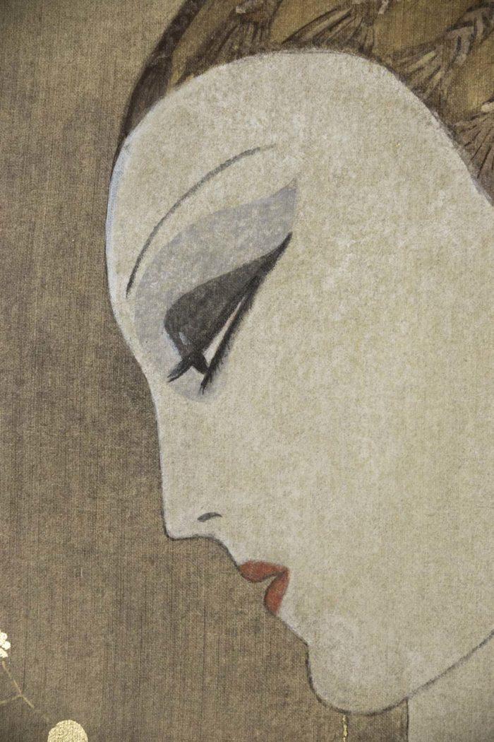 toile peinte femme art déco visage