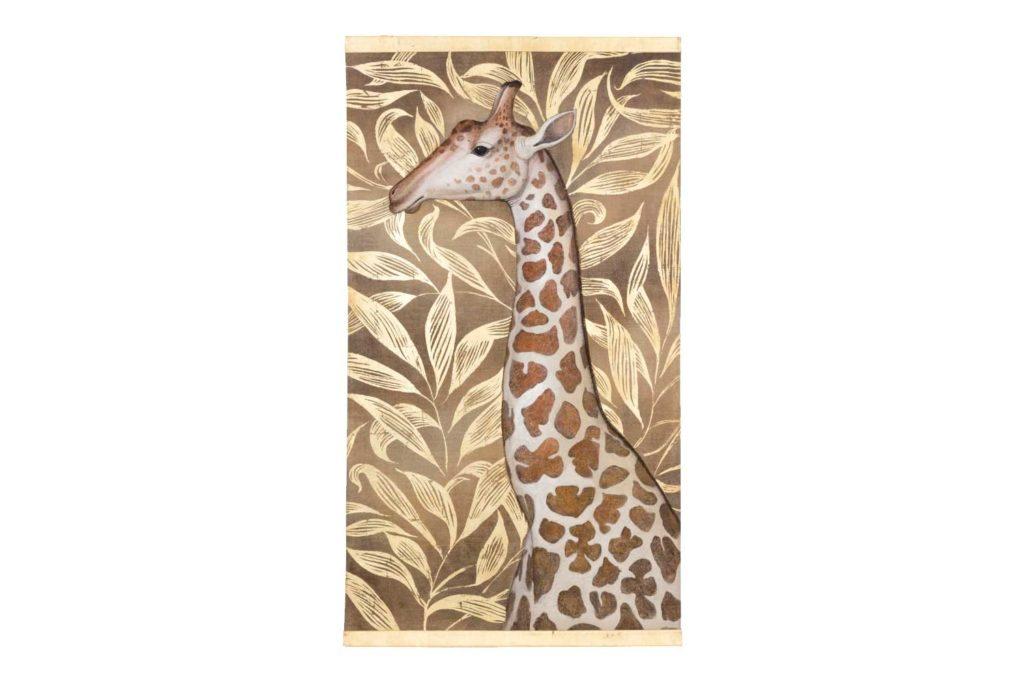 Toile peinte figurant une girafe, travail contemporain