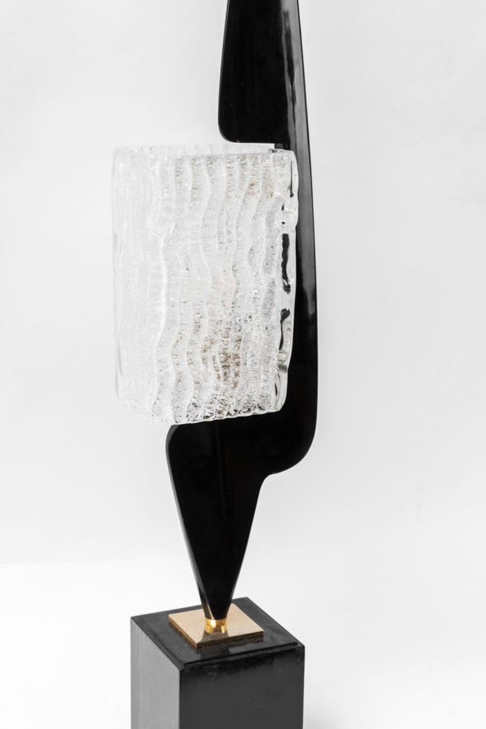 arlus lamp black wood glass detail