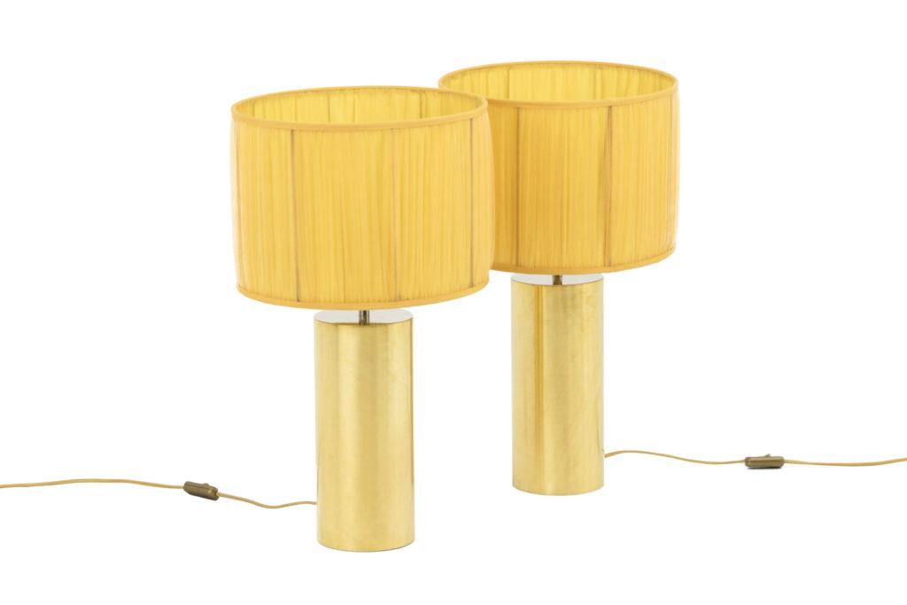 Paire de lampes en métal doré et chromé, années 1970