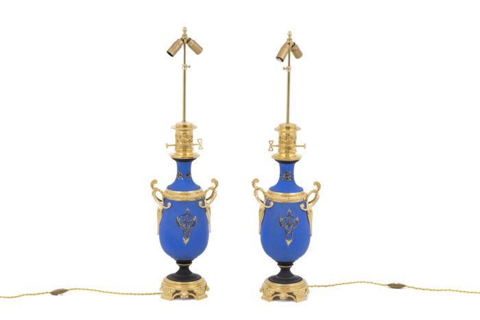 lampes porcelaine bleues motif dos