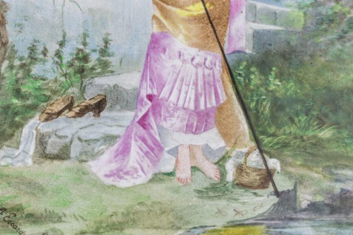 plaque porcelaine peinte femme pêchant