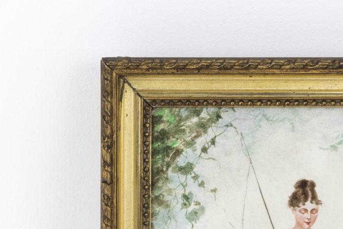 plaque porcelaine peinte pêcheuse cadre bois doré