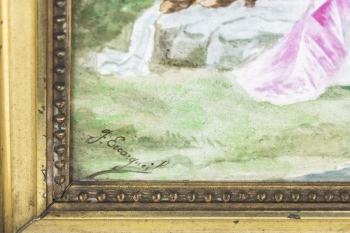 plaque porcelaine peinte pêcheuse signature
