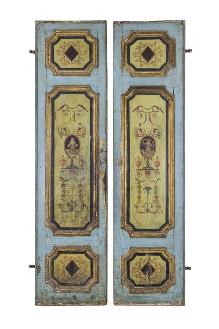 portes bois peint décor grotesques XVIIIe