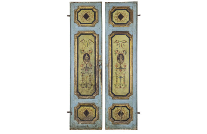 italian doors painted wood grotesques 18th century
