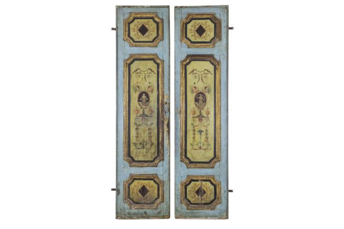portes italiennes bois peint décor grotesques xviiie