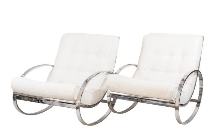 renato zevi rocking chairs ellipse chromed metal