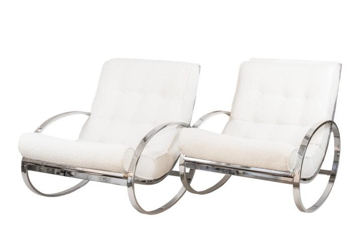 renato zevi rocking chairs ellipse métal chromé
