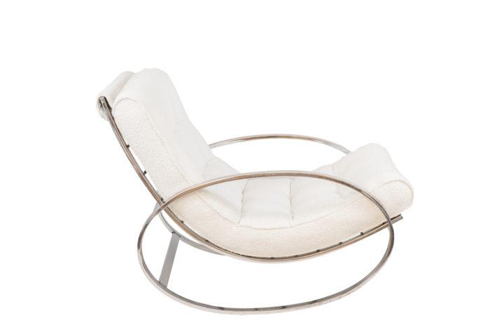 renato zevi rocking chairs ellipse métal chromé side