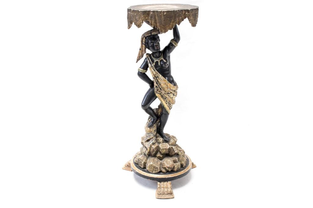 Sellette en bois peint figurant une nubienne, époque Napoléon III