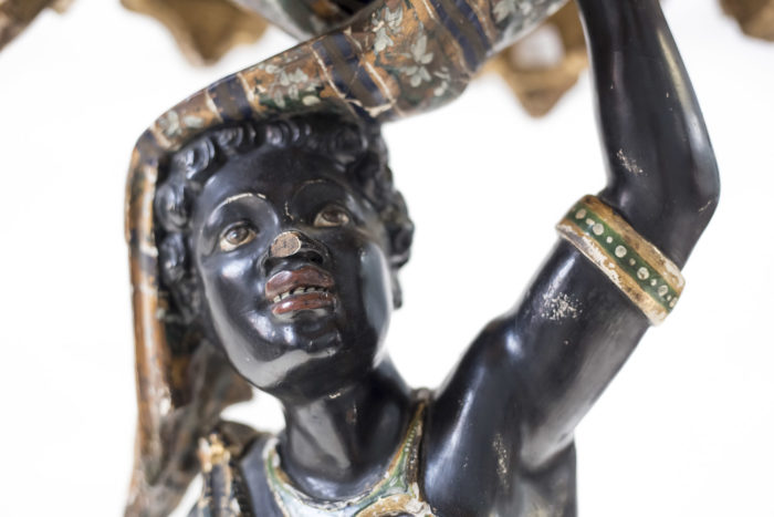 sellette nubienne bois peint tête