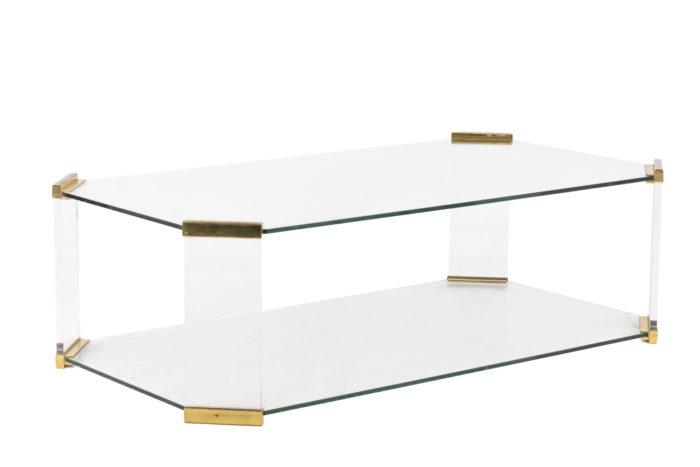 table basse verre pans coupés angle