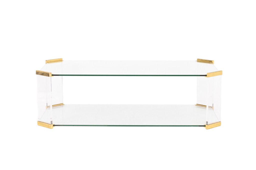 Table basse rectangulaire en verre et bronze doré, 1970