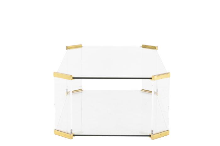 table basse verre pans coupés bronze profil