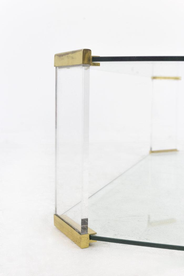 table basse verre pans coupés détail