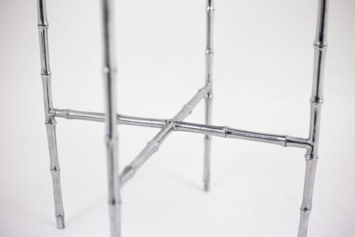 stool silvered bronze bamboo legs