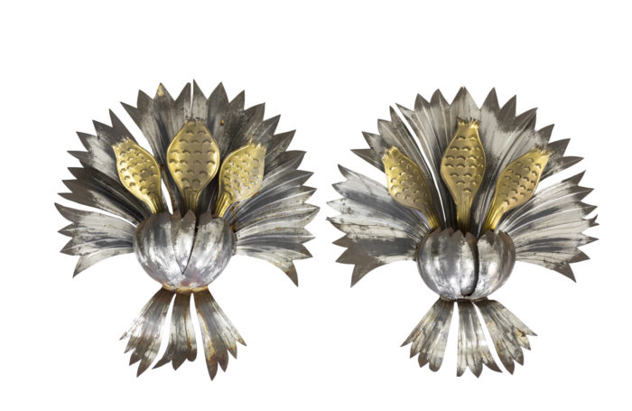 wall sconces iron silvered and gilt flowers