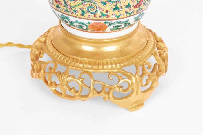 lampe porcelaine base bronze doré