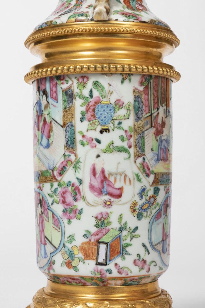 lampe porcelaine canton détail