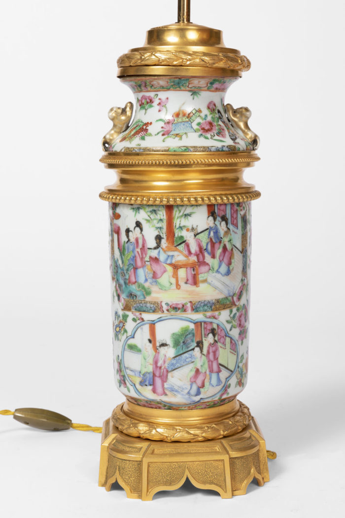 lampe porcelaine canton scène de palais
