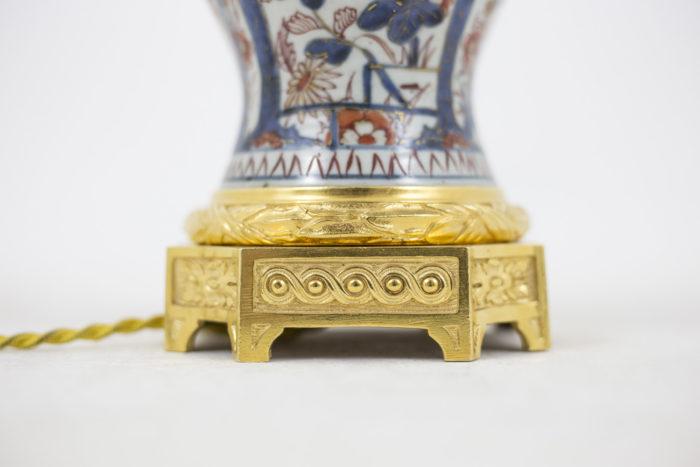 lampe porcelaine imari base bronze doré