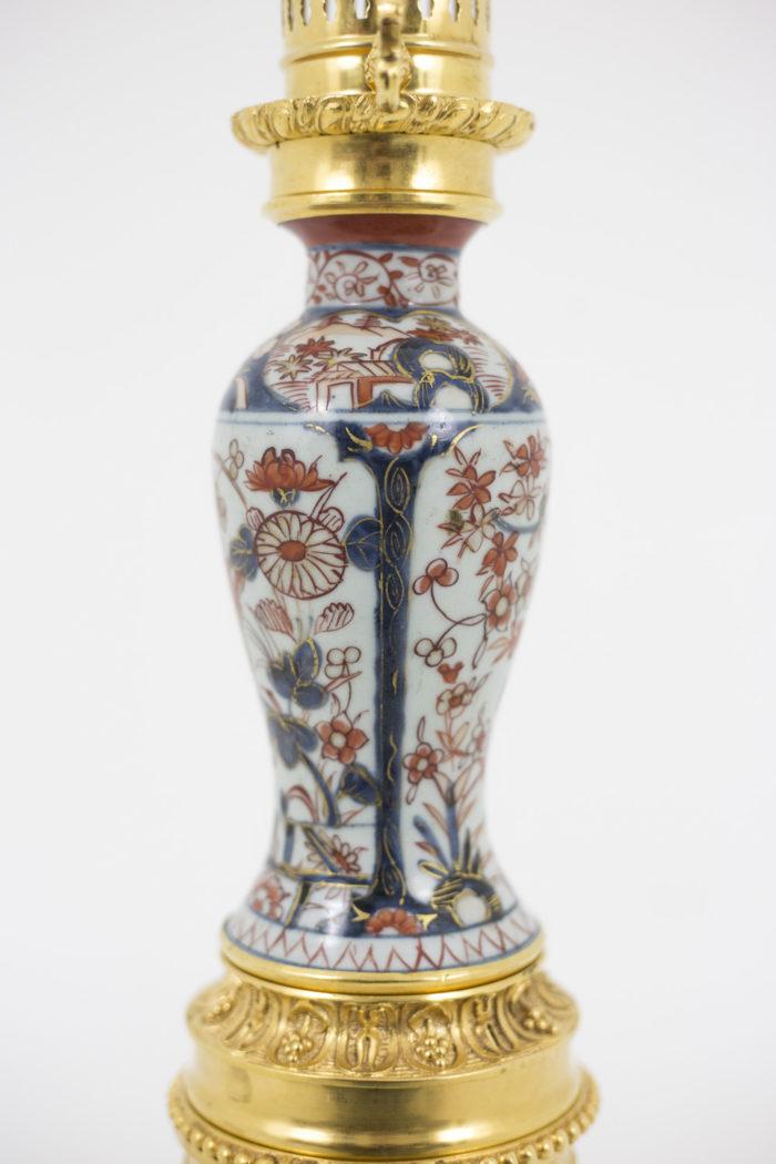 lampe porcelaine imari décor bleu rouge