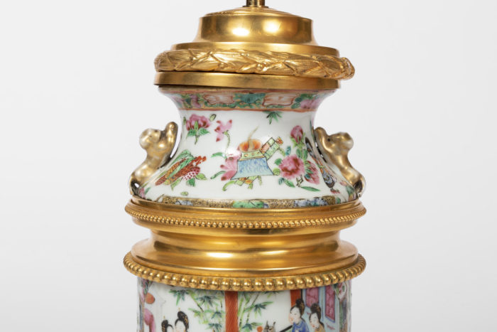 lampe porcelaine monture bronze doré