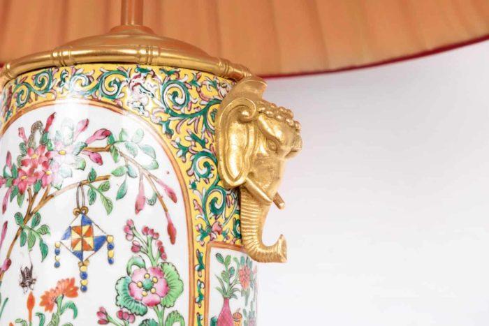 lampe porcelaine samson éléphants bronze doré