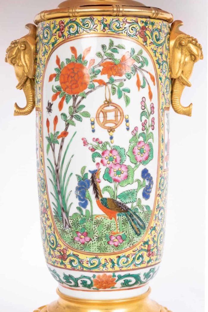 lampe porcelaine samson oiseau fleurs