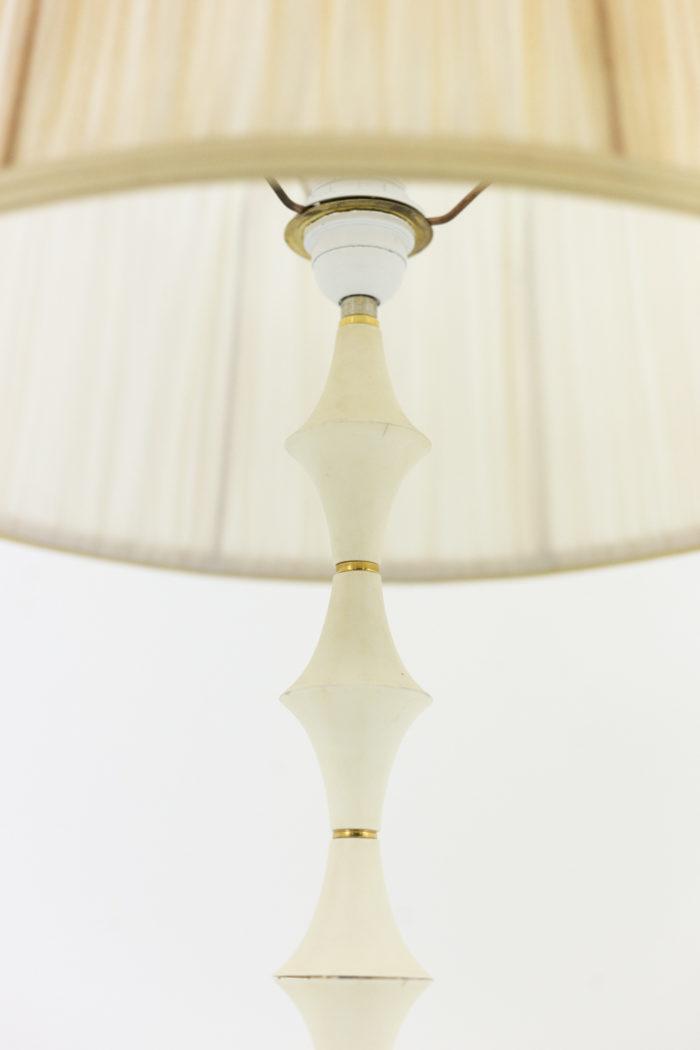 lampe résine blanche bague laiton doré