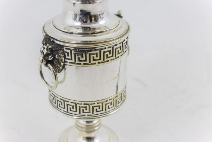 lampes argenté décor frises de grecques
