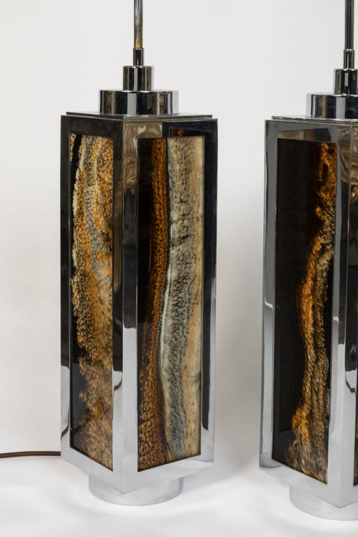 lampes bakélite minéral métal chromé