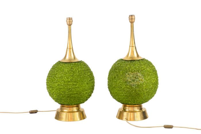 lampes boule de buis lucite verte laiton doré