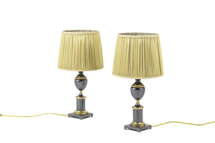 lampes bronze doré et gris métallique