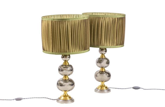 lampes chapelet métal chromé doré 1970's