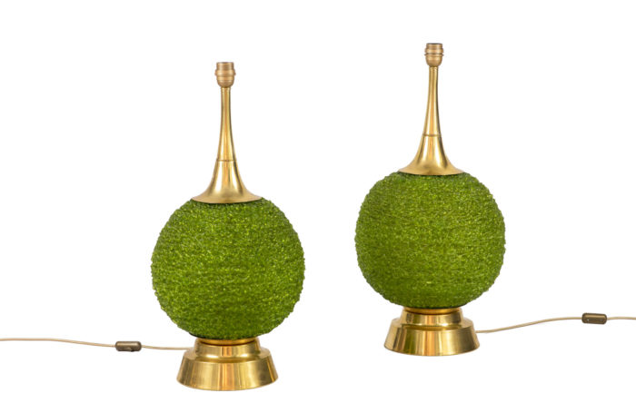 lamps green lucite gilt brass