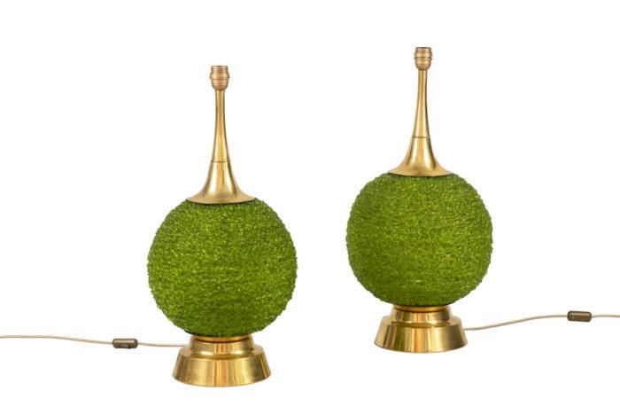 lampes lucite verte laiton doré