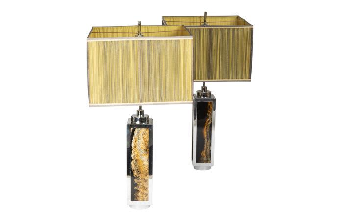 lampes métal chromé bakélite minéral 1970's