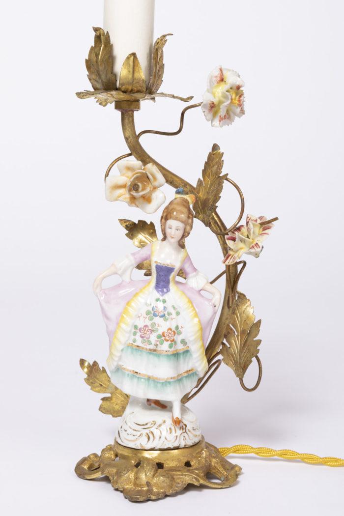 lampes personnages porcelaine femme xviiie