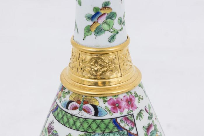 lampes porcelaine bague bronze doré