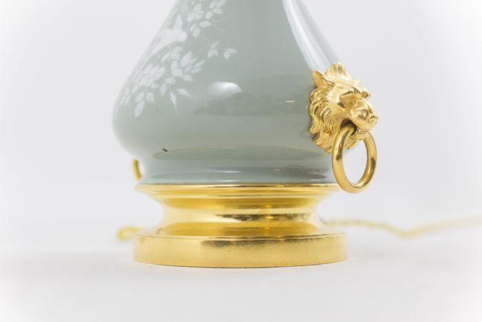 lampes porcelaine base bronze doré