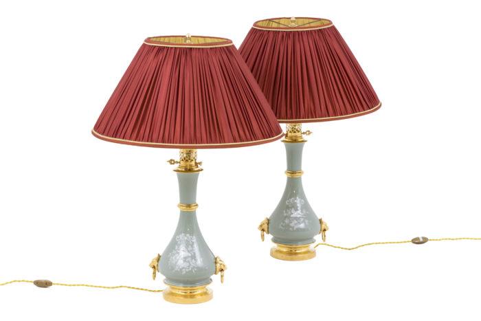lampes porcelaine céladon émail blanc bronze doré