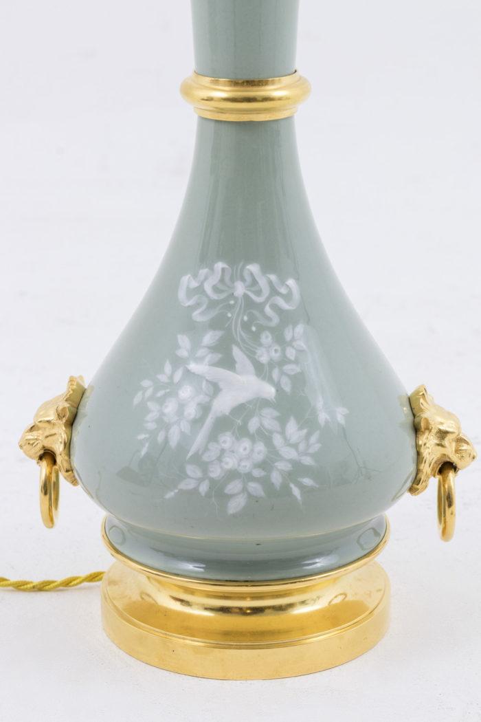 lampes porcelaine céladon émail blanc fleurs oiseaux