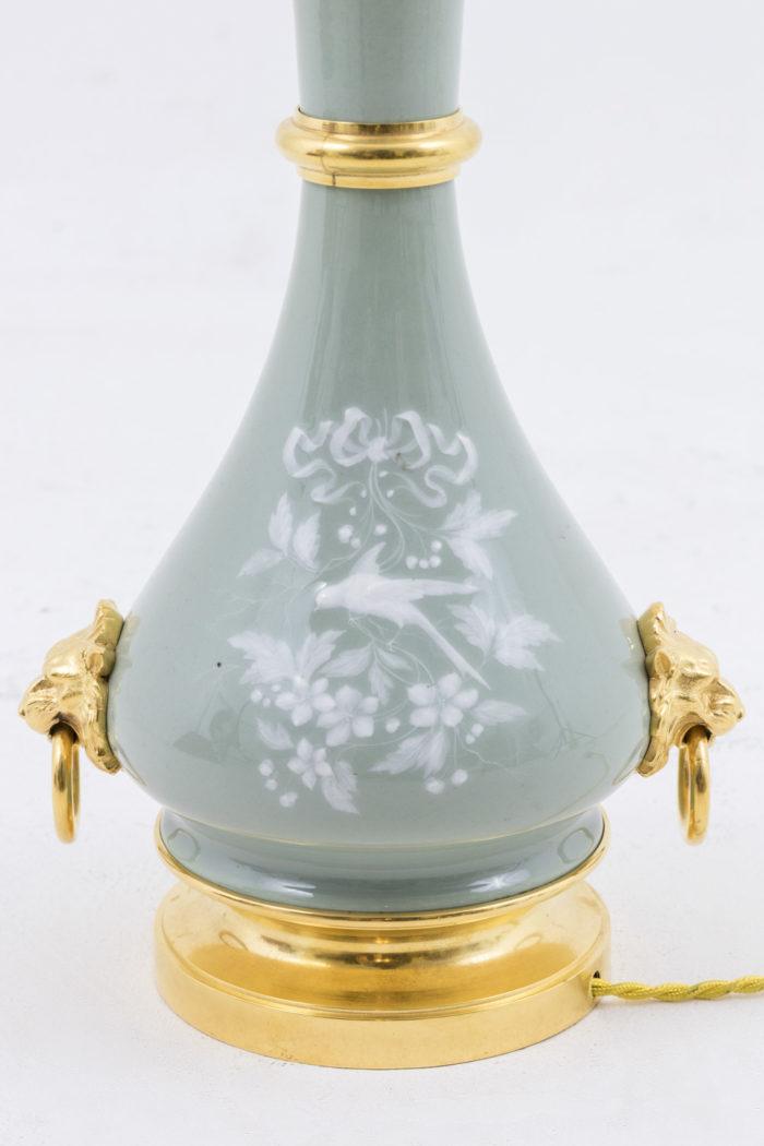 lampes porcelaine céladon émail fleurs oiseaux