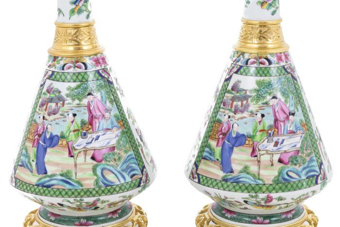 lampes porcelaine canton décor scènes palais
