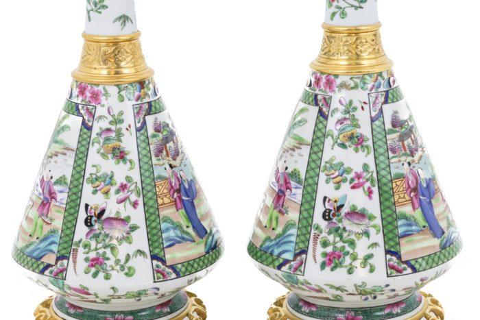 lampes porcelaine canton fleurs papillons