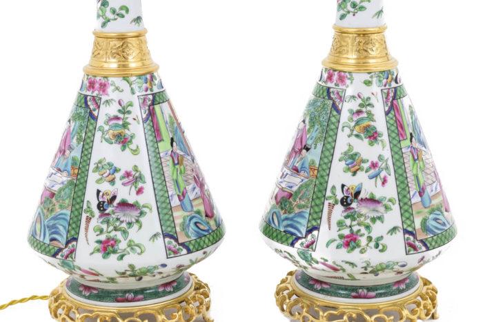 lampes porcelaine canton papillons fleurs