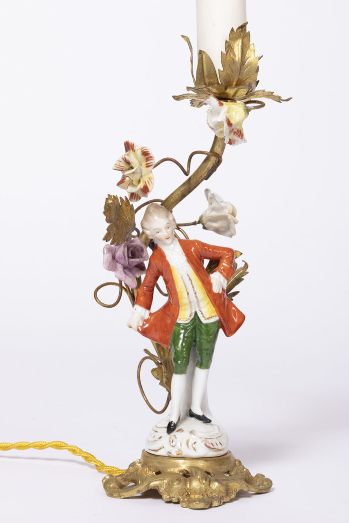 lampes porcelaine personnage gentilhomme xviiie