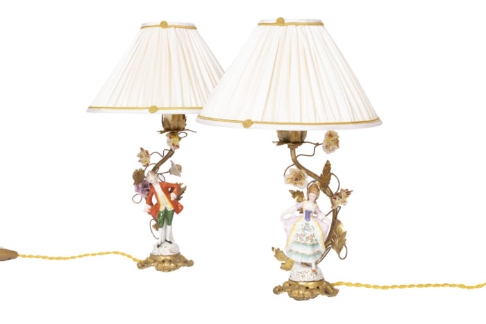 lampes porcelaine personnages xviiie